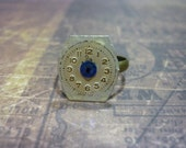 Steampunk Watch Face Ring with Blue Swarovski Crystal - Great for a Christmas gift!