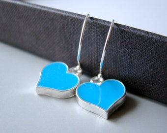Blue Hearts , enameled dangling earrings with large  sterling silver ear wires