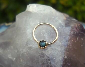 Nipple Ring - 14K Yellow Gold Filled Abalone Shell Paua Shell - Nipple Piercing - Nipple Jewelry- Septum Ring - Conch Ring