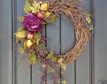 Spring Wreath Summer Wreath Fall Wreath Purple Berry Wispy Branches Twig Grapevine Door Wreath Decor Use Year Round Purple Peony Fruit