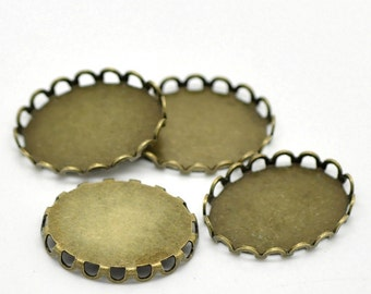 Cabochon Settings : 10 Brass Lace Edge Cabochon Settings | Bronze Scalloped Bezels holds 13x18mm Cabochon -- Lead & Cadmium Free 34300.H3F