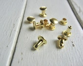 Extra Small DOUBLE CAP Rivets - BRASS Plated - Great for Leather and Metal - 100 Pack.