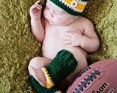 Baby Set - Green Bay Packers Football Hat and Leggings (fits newborn, 0-3 month, 3-6 month)