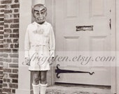 Halloween Decor, Black and White Art, Boy with Devil Mask, Mixed Media Collage, Halloween Wall Art