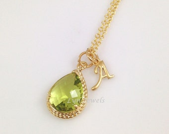 Gold Peridot Necklace - Fern Green Personalized Initial Bridesmaids Necklace - August Birthstone Prom Christmas Gift