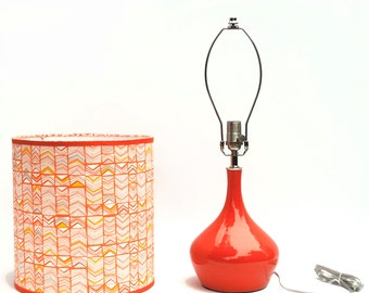 Orange Ceramic Lamp with Shade