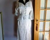 Vintage 1950s white brocade black velvet rhinestone wedding suit