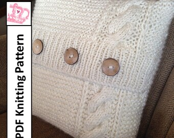"""PDF KNITTING PATTERN, Cable knit pillow cover pattern, knitted cushion pattern, 16""""x 16"""" pillow cover pattern"""