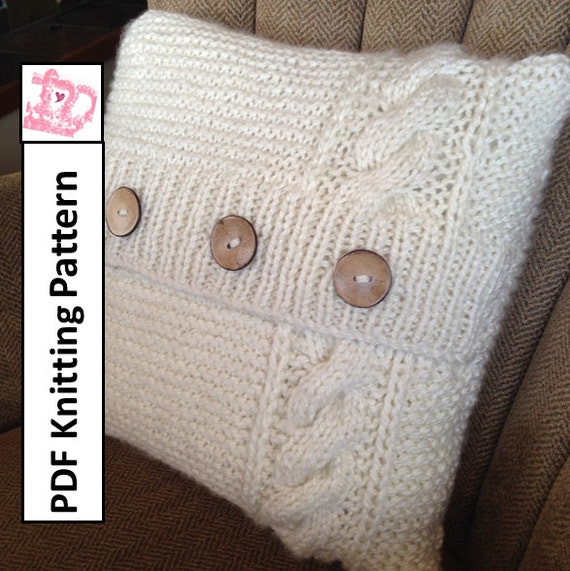 Cable Knit Sweater Pattern Free : PDF KNITTING PATTERN Cable knit pillow cover pattern knitted