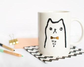 Gold Bowtie Cat Mug