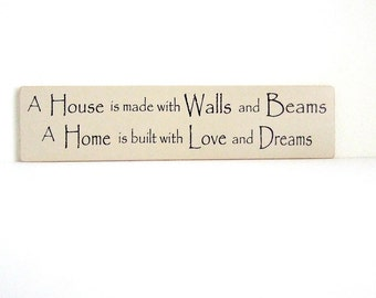 Wood Sign Walls and Beams Love and Dreams Home Sign Gift New Home Gift