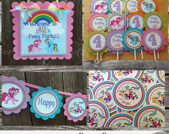 Fabulous Mini Birthday Party Package -Pretty Ponies -Baby Shower -Birthday-Banner -Tags -Cupcake Toppers -Party Sign -My Lil Pony -Ponies