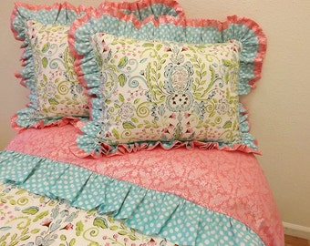 TWIN SIZE BEDDING- Made to Order- Twin Duvet Cover and Sham