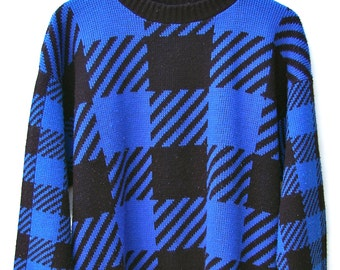 Black and Blue Block Print Sweater