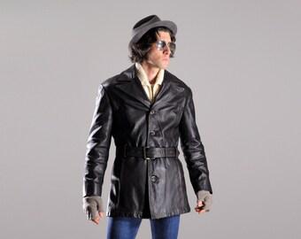 mens vintage jacket 40s 50s horsehide leather jacket Norfolk belted barnstormer coat adventure action back Judd small medium 36 38