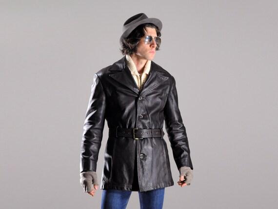 Mens vintage jacket 40s 50s horsehide leather jacket norfolk belted