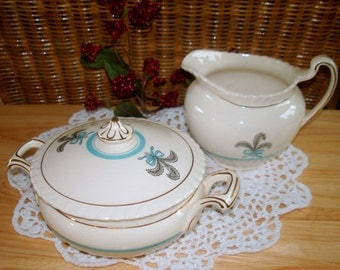Vintage Cream & Sugar Set Johnson Brothers Old English Prince of Wales Pattern Large Pieces Excellent Condition