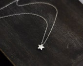Tiny Star Necklace. Sterling Silver Star and Chain. Dainty Necklace. Special Gift for Her.