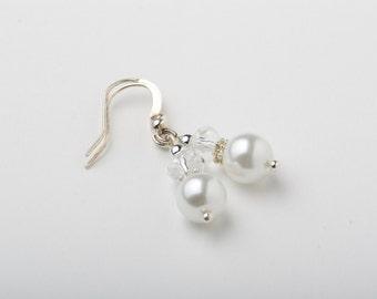 Flower girl earrings - bridesmaid earrings - Swarovski pearl and crystal - white earrings - silver wire - white wedding - delicate earrings