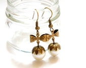 SALE Antiqued Brass Bow and Faux Pearl Dangle Earrings - Bridesmaids Gift Idea - Bridal Jewelry