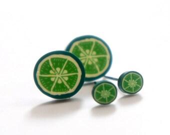 Tiny Miniature Green Grapefruit Post Earrings 5mm 11mm