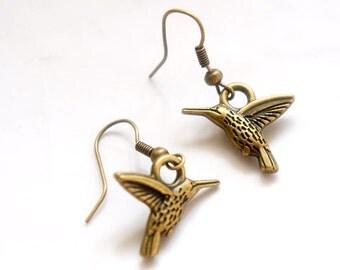 Hummingbird Earrings - Vintage Style Antiqued Brass Hummingbird Dangle Earrings - C0007