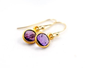Purple Quartz Dangle Earrings - Bridesmaids Gift Idea - Simple Everyday Jewelry - Wedding Jewelry - Bridal Earrings