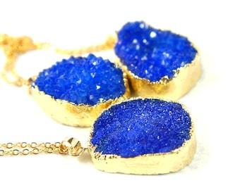 Druzy Necklace - Deep Ocean Blue - Natural Agate Titanium Druzy Geode Quartz Crystal Rough Cut Rock Drop Nugget Necklace - Gift Idea