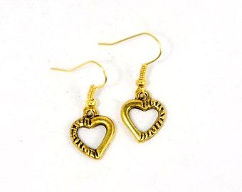 SALE Vintage Style Tiny Heart Dangle Earrings - Bridal Jewelry - Bridesmaids Gift Idea - Wedding Jewelry - UC002