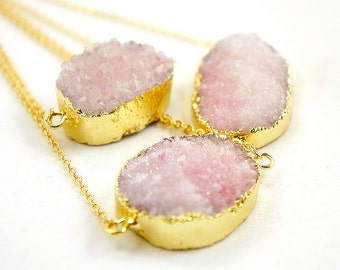 Druzy Necklace - Sakura Pink - Natural Agate Titanium Druzy Geode Quartz Crystal Rough Cut Rock Drop Nugget Necklace - Gift Idea