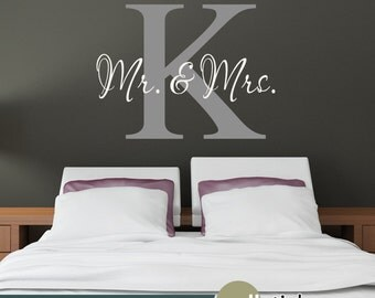 Mr. & Mrs. Wall Decal - Monogram Wall Decal- Wall Initials for Bedroom Decor, Wedding Decor - WD0336