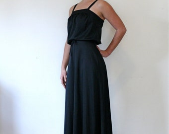 Vintage 70s Sleeveless Black Maxi Dress, 1970s Summer Sundress, Tie Waist