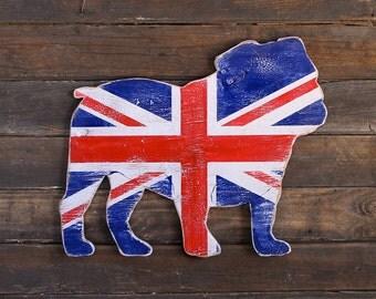 English Bulldog Art British Bulldog Flag Union Jack Sign Dog Home Decor