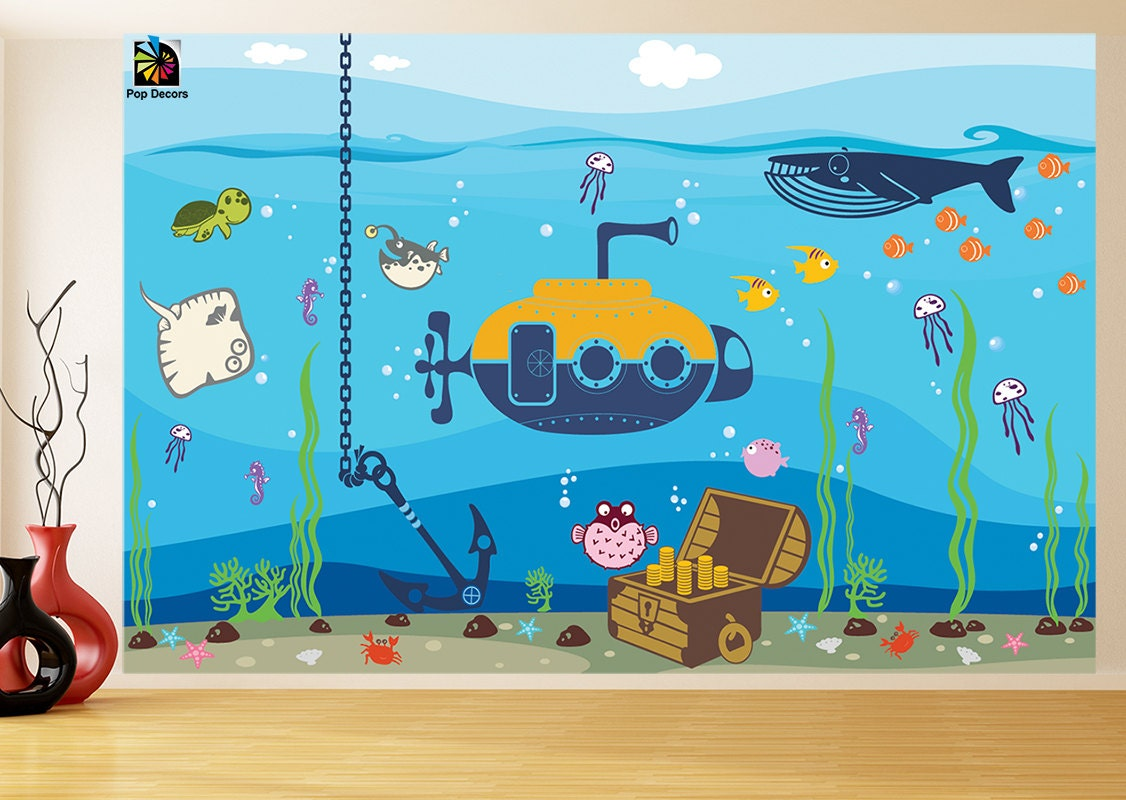 Nautical nursery re positionable fabric wall murals kids wall for Children s wall mural