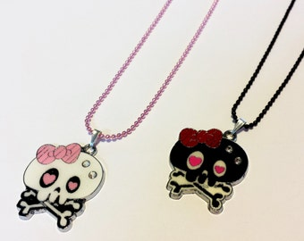 Sale! Emo Gothic heart skull Necklaces