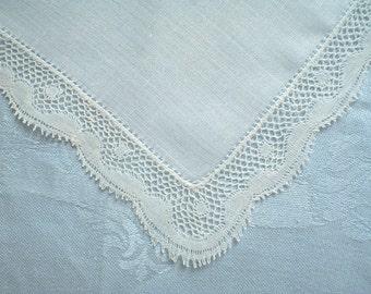 Elegant Hankie with Bobbin Lace Edge Vintage Handkerchief