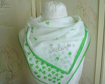 Ireland Scarf with Shamrock Cascade Vintage Green and White Scarf