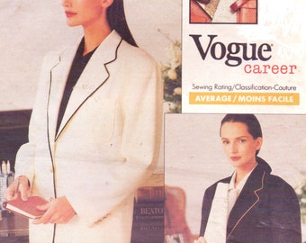 1980s Ralph Lauren Womens Classic Jacket with Piping Vogue Career Sewing Pattern 2253 Size 12 14 16 Bust 34 36 38 UnCut Two Button Jacket