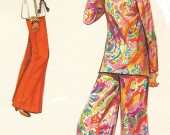 1960s Womens Mod Top and Wide Legged Pants Butterick Sewing Pattern 5130 Size 10 Bust 32 1/2 UnCut Vintage Sewing Patterns