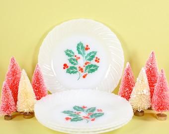 Holly Leaf Milk Glass Plates - 1960s Vintage VTG Termocrisa