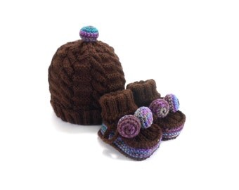 Knitted Baby Hat and Booties - Dark Brown, 3 - 9 month