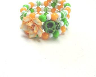 Day of the Dead Bracelet Sugar Skull Wrap Cuff Green White Orange Peach Rose