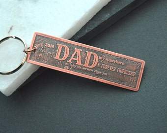Copper Dad keychain, personalized keychain, gift for dad, copper keychain