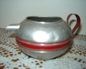 Sweet Vintage Aluminum Toy Teapot / Red Stripe / Red Handle / 1950s 1960s Tin Toy