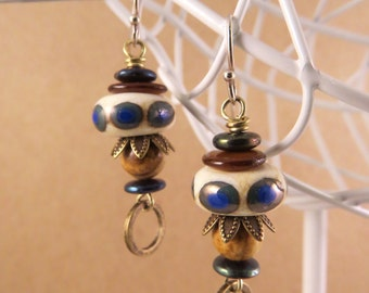 Ivory Blues, Lampwork Glass Bead Earrings with brass accents