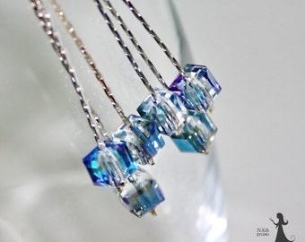 Long crystal earrings - Ice blue cluster earrings - Bridesmaid gift - Bridal wedding earrings - Swarovski crystal cluster earrings