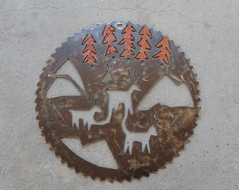 Primitive Metal Wall Hanging, Industrial Round Sculpture, Recycled Metal Wall Art, Southwestern Art, Saw blade, Outdoor Art, Rusty Patina