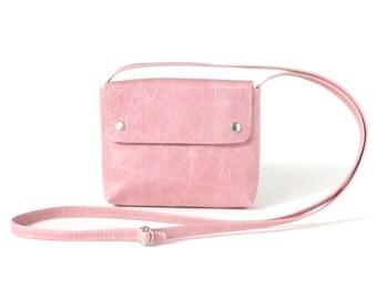 Small Crossbody Purse Strawberry Ice, pink leather bag, small cross body bag, small satchel bag, shoulder bag