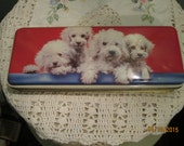 Vintage 60s Thorne Toffee Tin Poodle Puppies / Adorable Dog Tins Great Condition