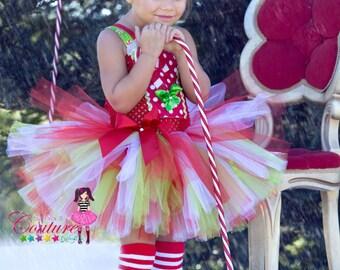 Candy cane inspired Christmas tutu dress